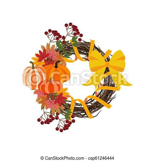 Autumn wreath illustration - csp61246444