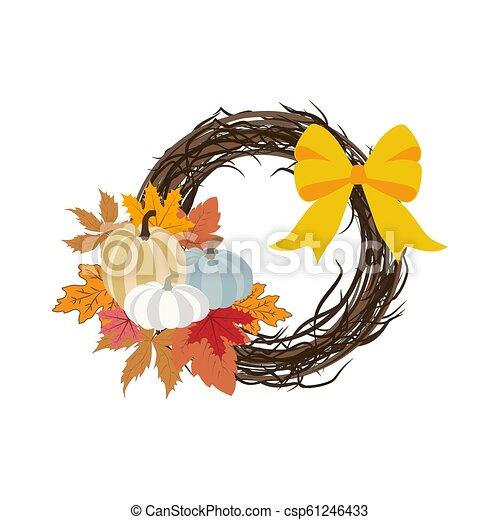 Autumn wreath illustration - csp61246433