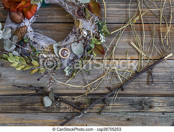 Autumn Wreath On Wooden Background In The Form Of A Circle