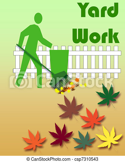 autumn yard work gardener raking leaves colorful yard