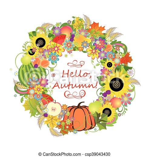 Autumnal decorative wreath - csp39043430