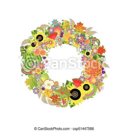 Autumnal decorative wreath with fruits, flowers and wheat - csp51447586