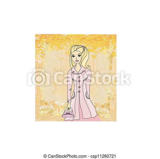 Autumnal fashion girl in a coat in sketch-style. Vector illustration.  - csp11260721