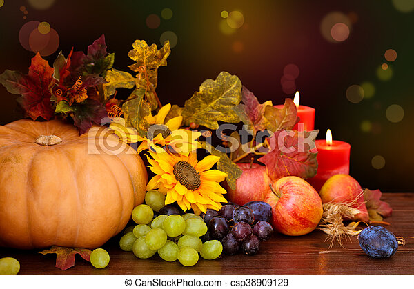 Autumnal fruits and vegetables. - csp38909129