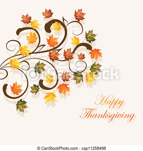 Autumnal leaves background for thanksgiving or seasonal design - csp11258498
