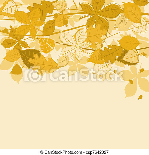 Autumnal leaves background - csp7642027
