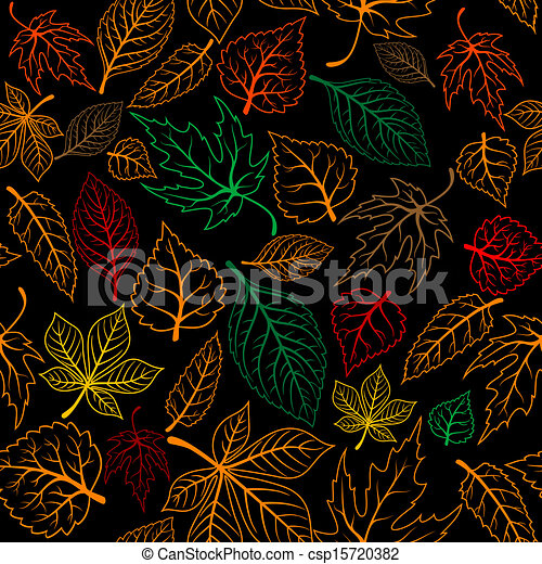 Autumnal leaves seamless background - csp15720382