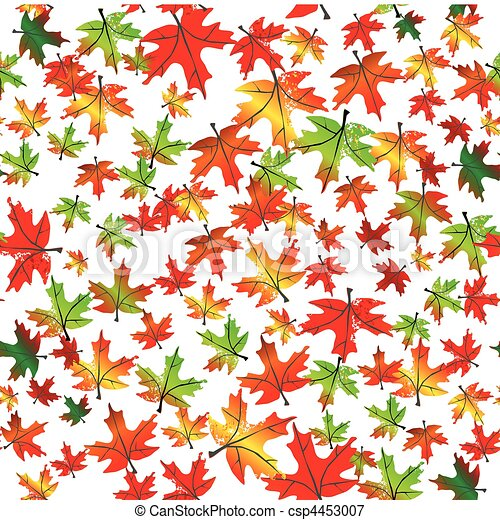 Autumnal leaves seamless background. Vector - csp4453007