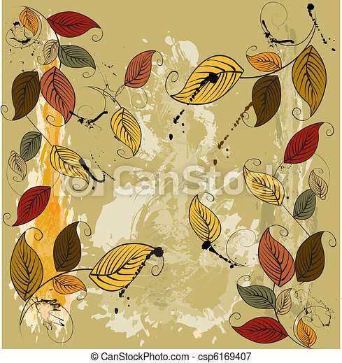 Autumnal leaves seamless background  - csp6169407