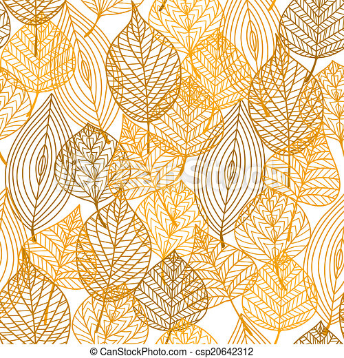 Autumnal leaves seamless pattern - csp20642312
