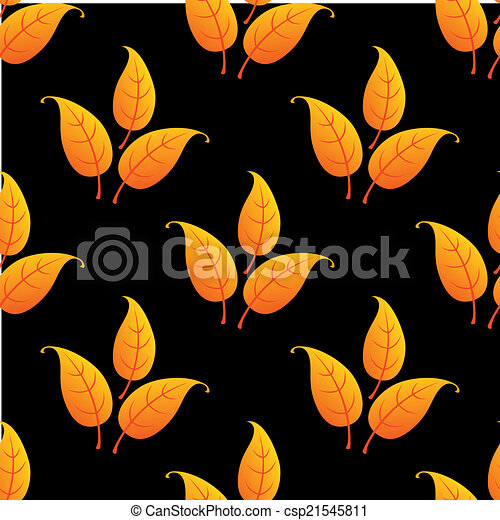 Autumnal leaves seamless pattern - csp21545811