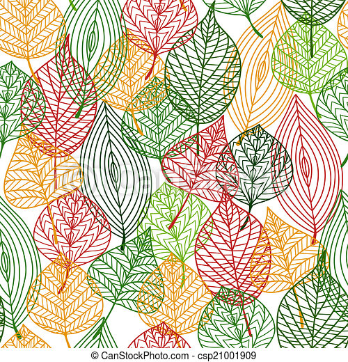 Autumnal leaves seamless pattern - csp21001909