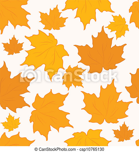 Autumnal maple leaves, seamless background - vector - csp10765130