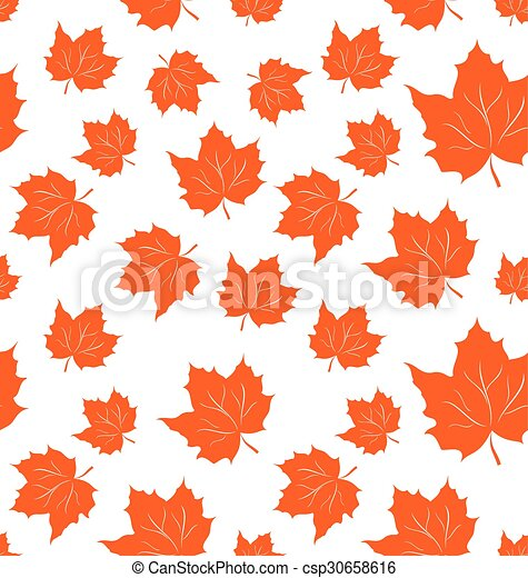 Autumnal Maple Leaves, Seamless Background - csp30658616