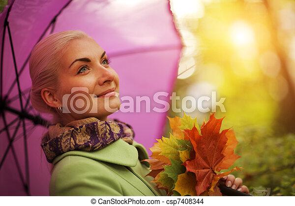 autunno, donna, felice - csp7408344