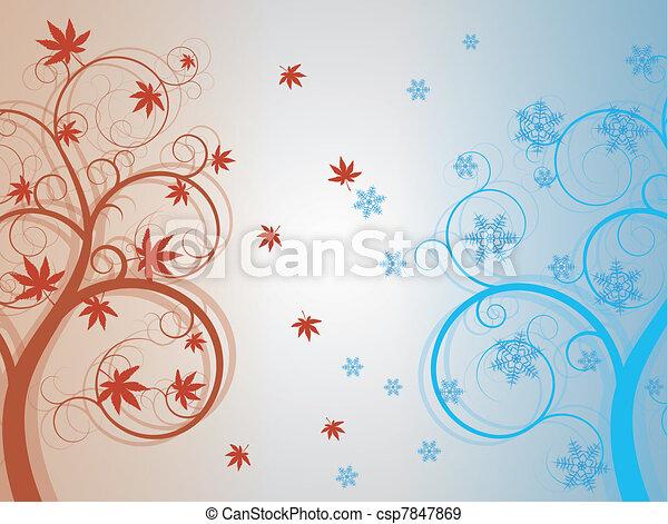 autunno, inverno albero - csp7847869