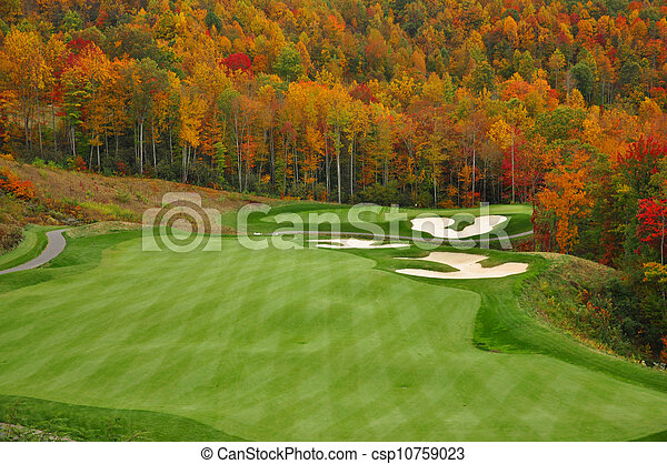 autunno, montagna, campo golf - csp10759023