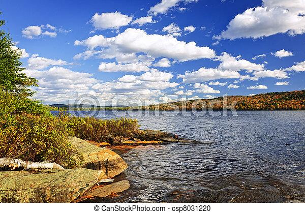 autunno, riva, lago - csp8031220