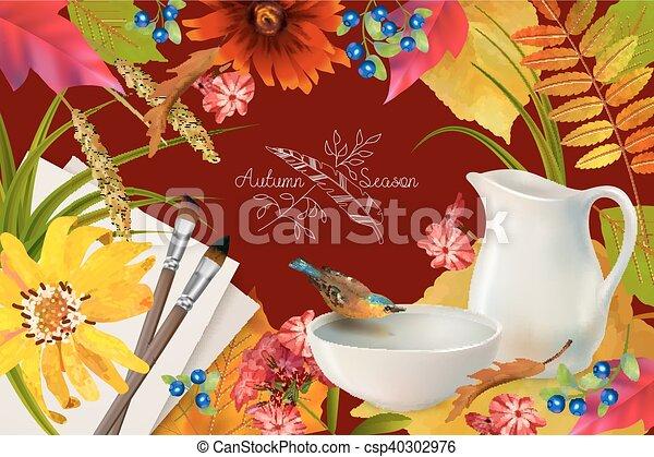autunno, vettore, composizione - csp40302976