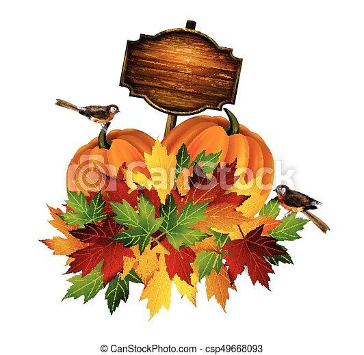 autunno, vettore, ringraziamento, composizione - csp49668093