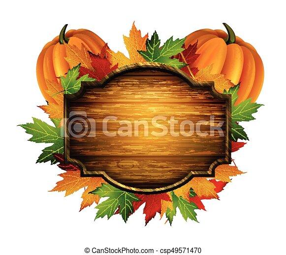 autunno, vettore, ringraziamento, composizione - csp49571470