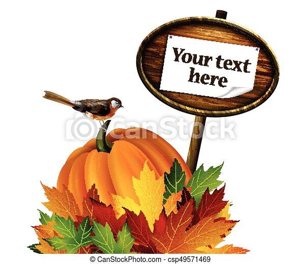 autunno, vettore, ringraziamento, composizione - csp49571469