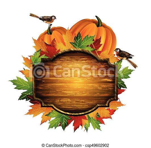 autunno, vettore, ringraziamento, composizione - csp49602902