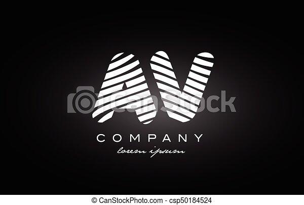 Av A V Letter Alphabet Logo Black White Icon Design Av A V Letter