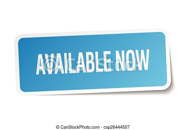 available now blue square sticker isolated on white - csp26444507