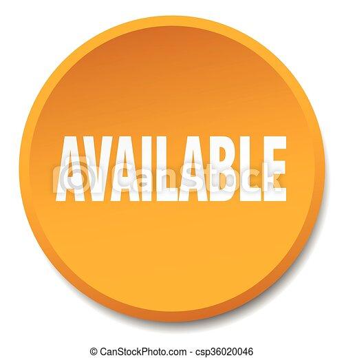 available orange round flat isolated push button - csp36020046