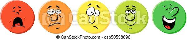 avaliação, ícones, emocional, caras - csp50538696