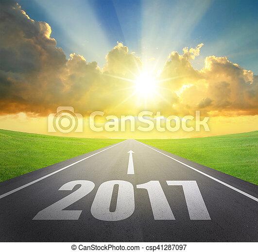 avanti, nuovo, 2017, concetto, anno - csp41287097