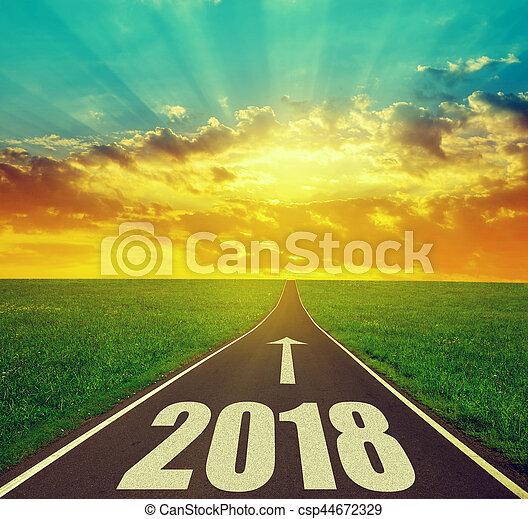 avanti, nuovo, 2018, anno - csp44672329