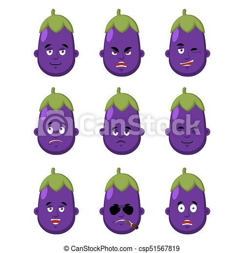 avatar., 紫色, icon., 顔, なす, emoji., 睡眠, ベクトル, 恐れ, 深刻, winks., set., イラスト, 感情, 悲しい, 当惑させている, 悪, 幸せ, 野菜 - csp51567819