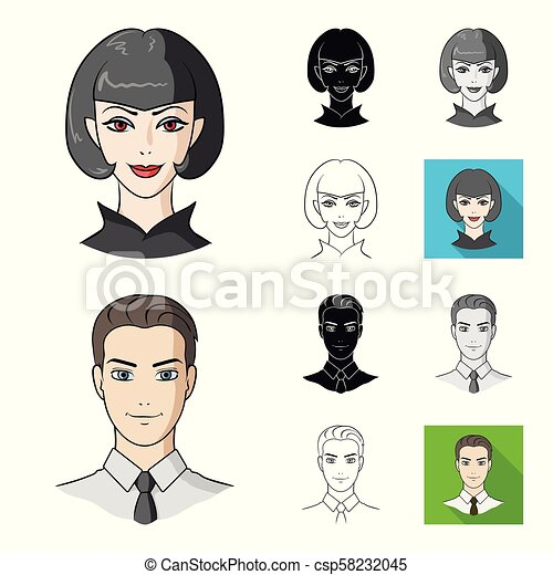 Avatar and face cartoon, black, flat, monochrome, outline icons in set collection for design. A person's appearance vector symbol stock web illustration. - csp58232045