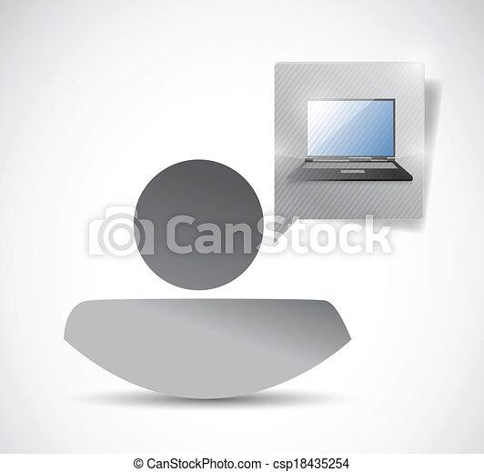 avatar and laptop communication - csp18435254