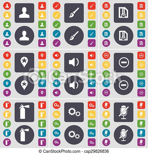 Avatar, Brush, ZIP card, Checkpoint, Sound, Minus, Fire extinguisher, Gear, Microphone icon symbol. A large set of flat, colored buttons for your design. Vector - csp29826836