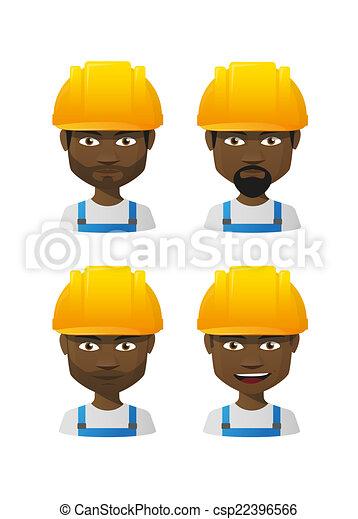 avatar, cartone animato, set, workres, maschio - csp22396566