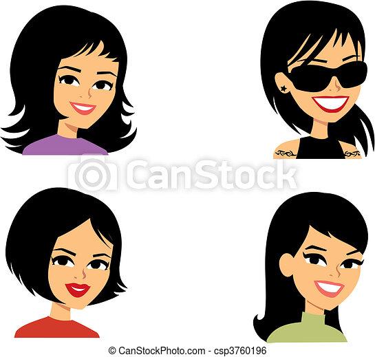 avatar, femmes, dessin animé, illustration portrait - csp3760196