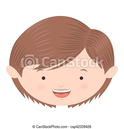 Avatar Front Face Brown Light Hair Boy Vector Illustration