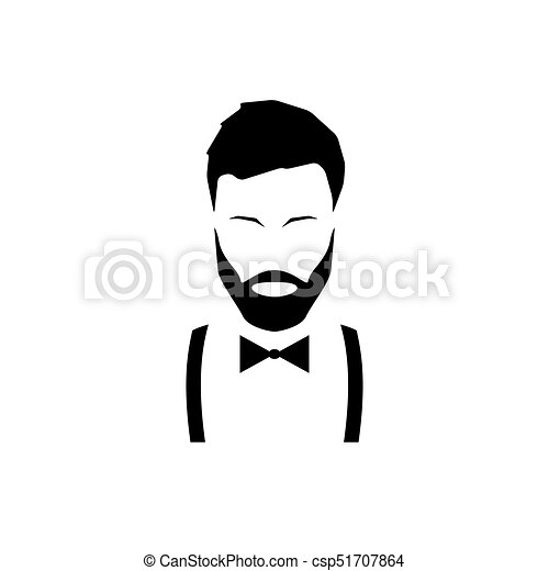 Avatar hipster with a beard in suspenders and a bow tie. - csp51707864