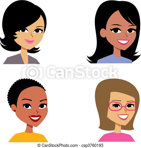 avatar, kvinder, cartoon, illustration portræt - csp3760193