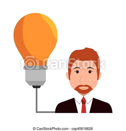 avatar man and yellow bulb - csp40616626