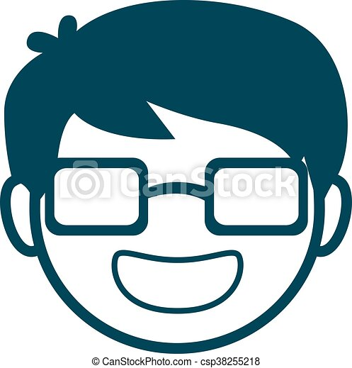 Avatar Man Face with Glasses - csp38255218