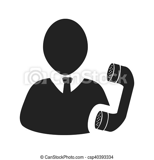Avatar Man Icon Avatar Man Person Social User With Telephone Headset Icon Silhouette Vector Illustration