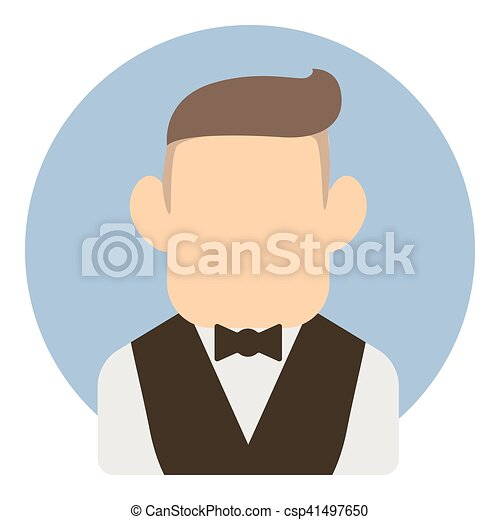 Avatar man in suit icon, flat style