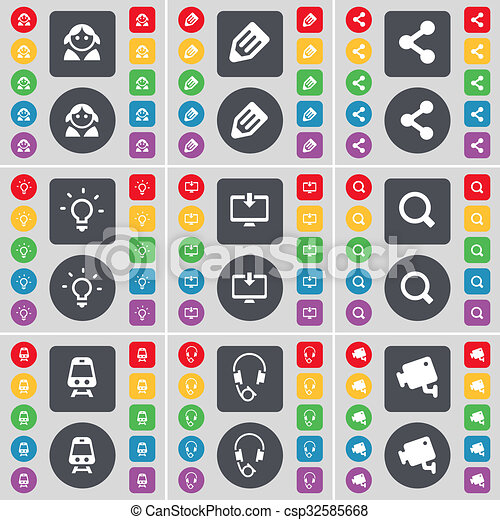 Avatar, Pencil, Share, Light bulb, Monitor, Magnifying glass, Train, Headphones, CCTV icon symbol. A large set of flat, colored buttons for your design. - csp32585668