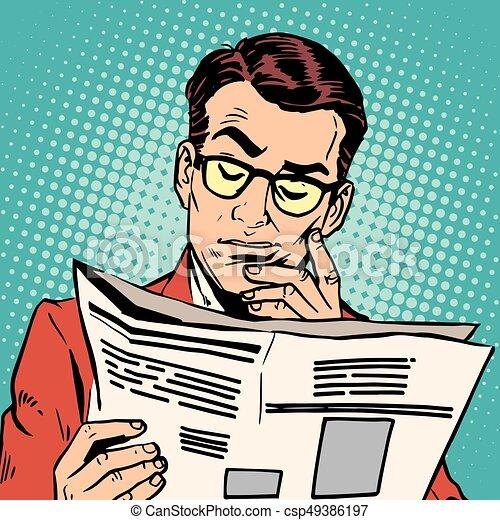 avatar portrait man reading a newspaper - csp49386197