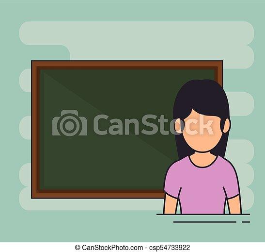 Avatar School Teacher At The Chalkboard Vector Illustration Graphic Design