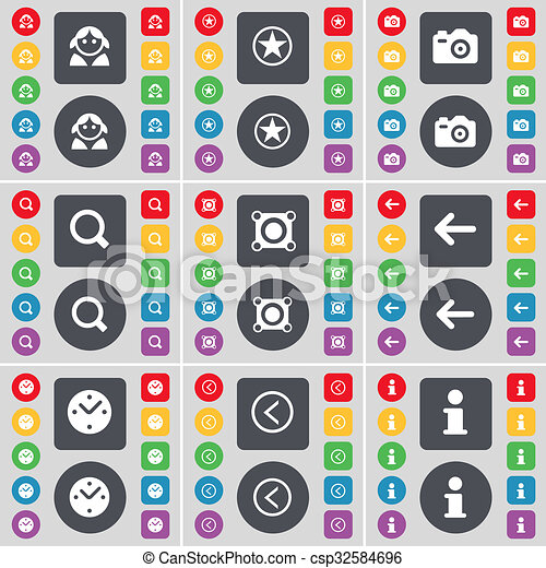 Avatar, Star, Camera, Magnifying glass, Speaker, Arrow left, Clock, Information icon symbol. A large set of flat, colored buttons for your design. - csp32584696